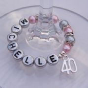 40th Birthday Personalised Wine Glass Charm - Full Sparkle Style